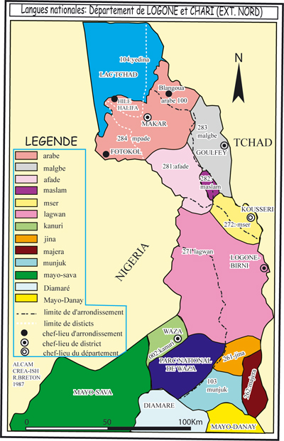Maps Of Cameroon Languages Vegetation Population Towns - Cameroon language map